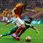 Galatasaray's Burak Yilmaz (L) during their Turkish Super League soccer match Galatasaray between Mersin idman Yurdu at the AliSamiYen Spor Kompleksi TT Arena at Seyrantepe in Istanbul Turkey on Saturday, 12 September 2015. Photo by Kurtulus YILMAZ/TURKPIX