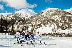 February 2, 2018 - Goms, SWITZERLAND - 180202 BjÅ¡rn SandstrÅ¡m of Sweden, Eirik Sverdrup Augdal of Norway and Eddie EdstrÅ¡m of Sweden compete in the men's 15/15 km skiathlon during the FIS U23 Cross-Country World Ski Championships on February 2, 2018 in Obergoms..Photo: Vegard Wivestad GrÂ¿tt / BILDBYRN / kod VG / 170096 (Credit Image: © Vegard Wivestad Gr¯Tt/Bildbyran via ZUMA Press)