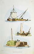Norfolk hay boats, top and bottom. Small square-rigged coastal vessels with shallow draught which enabled them to navigate the English east coast estuaries and use inland ports. Particularly used to transport hay to London for the many carriage and cart horses. Centre: Coble, a small fishing boat. Engraving after William Henry Pyne (1769-1843) British. (London 1814). Hand-coloured engraving.