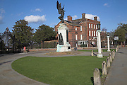 Cowdray Crescent with war memorial and Hollytrees museum behind, Colchester, Essex, England