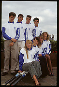 Molesey, Great Britain. Minit Insurance sponsorship press conference. Back row. left to right. Richard STANHOPE, Richard PHELPS, Greg SEARLE and John GARRETT. Front row, left to right. Sue BROWNLOW, Fiona FERECKLETON, Phillippa Cross and  Annabell Eyres 1992 British International Rowing Training on the Molesey Reach, Surrey,  [Mandatory Credit. Peter Spurrier/Intersport Images] +1992 +Molesey +Henley 1992 GBRowing Training, Molesey/Henley, United Kingdom