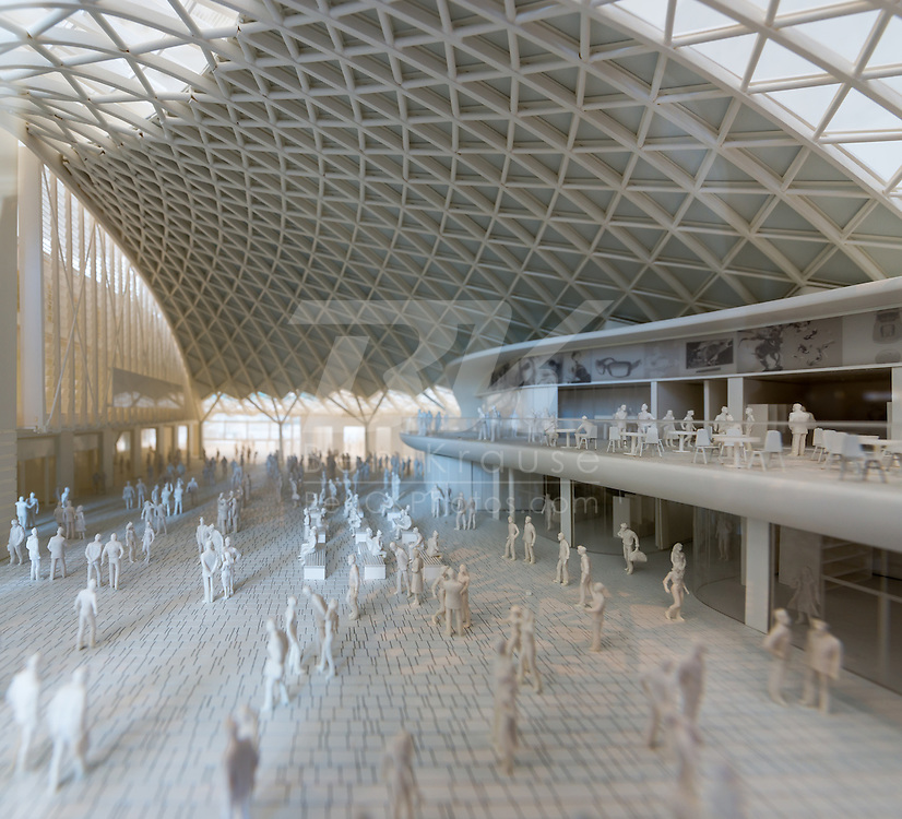 A model of the newly remodeled King's Cross Train Station.  The roof structure is the largest single-span structure in Europe.