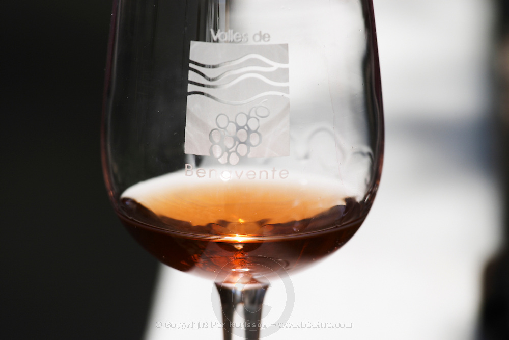 glass with 1970 rosado rose wine , Bodegas Otero, Benavente spain castile and leon