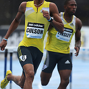 Javier Culson, Puerto Rico, (left) and Michael Tinsley, USA, in action during the Men's 400m Hurdles event at the Diamond League Adidas Grand Prix at Icahn Stadium, Randall's Island, Manhattan, New York, USA. 25th May 2013. Photo Tim Clayton