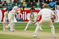 The Spin King Shane Warne clean bowls  England opener Andrew Strauss in front of an ecstatic MCG crowd to take his record 700th wicket during the Boxing Day Test match at the MCG in 2006. He became the first cricketer to reach the 700-wicket milestone in his second last Test for Australia. (Copyright Michael Dodge/Herald Sun)
