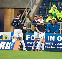 Falkirk's Conor McGrandles cele scoring their goal.<br /> Half time : Falkirk 1 v 0 Dundee, Scottish Championship game at The Falkirk Stadium.<br /> © Michael Schofield.