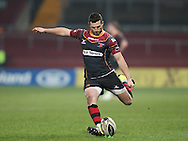 Jason Tovey of the Newport Gwent Dragons takes a penalty kick.<br /> Guinness Pro12 rugby match, Munster v Newport Gwent Dragons at Thomond Park in Limerick , Ireland on Saturday 5th March 2016.<br /> pic by  John Halas, Andrew Orchard sports photography.