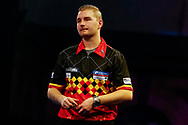 WINNER Dimitri Van den Bergh celebrates a little less exuberantly than his walk-on during the Darts World Championship 2018 at Alexandra Palace, London, United Kingdom on 18 December 2018.