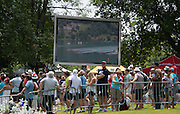 Aiguebelette, FRANCE.  Spectator waft the racing on the big screen at  the A  Finals at the  .  13:38:05  Sunday  22/06/2014. [Mandatory Credit; Peter Spurrier/Intersport-images]