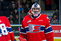KELOWNA, BC - JANUARY 31: Lukáš Pařík #33 of the Spokane Chiefs smiles for the camera at the end of second period against the Kelowna Rockets at Prospera Place on January 31, 2020 in Kelowna, Canada. Pařík is a 2019 NHL entry draft pick of the Los Angeles Kings. (Photo by Marissa Baecker/Shoot the Breeze)
