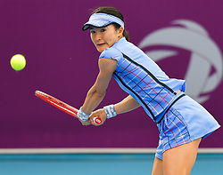 DOHA, Feb. 11, 2019  Shuko Aoyama of Japan hits a return during the qualifying match against Ajla Tomljanovic of Australia at the 2019 WTA Qatar Open in Doha, Qatar, on Feb. 10, 2019. Shuko Aoyama lost 1-2. (Credit Image: © Yangyuanyong/Xinhua via ZUMA Wire)