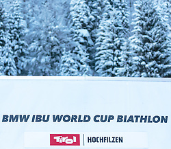 09.12.2017, Biathlonarena, Hochfilzen, AUT, IBU Weltcup Biathlon, Hochfilzen, Herren, Verfolgung, Siegerehrung, im Bild Logo BMW IBU World Cup Biathlon Tirol Hochfilzen // Logo BMW IBU World Cup Biathlon Tirol Hochfilzen during men's Pusuit of BMW IBU Biathlon World Cup at the Biathlonarena in Hochfilzen, Austria on 2017/12/09. EXPA Pictures © 2017, PhotoCredit: EXPA/ Stefanie Oberhauser