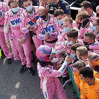 06.09.2020, Autodromo Nazionale di Monza, Monza, FORMULA 1 GRAN PREMIO HEINEKEN D'ITALIA 2020<br />,im Bild<br />Lance Stroll (CAN#18), BWT Racing Point F1 Team feiert mit seinen Mechhanikern seinen 3.Platz<br /> <br /> Foto © nordphoto / Bratic