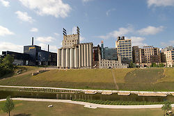 Minnesota, Twin Cities, Minneapolis-Saint Paul: Mill City Museum, showing flour milling history in Minneapolis.   Plus the Mill Ruins Park, where the mills were located..Photo mnqual269-74908..Photo copyright Lee Foster, www.fostertravel.com, 510-549-2202, lee@fostertravel.com.