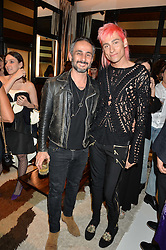 Left to right, ARA VARTANIAN and KYLE DE'VOLLE at a party to celebrate the opening of the jeweller Ara Vartanian's Flagship Store 44 Bruton Place, London on 7th September 2016.