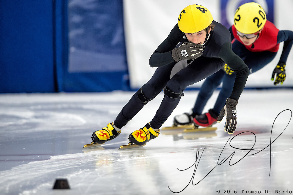 March 20, 2016 - Verona, WI - Dylan Gould, skater number 45 competes in US Speedskating Short Track Age Group Nationals and AmCup Final held at the Verona Ice Arena.