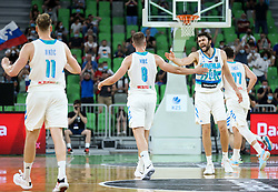 Edo Muric of Slovenia and Michael Edward Tobey of Slovenia react during friendly basketball match between National teams of Slovenia and Croatia, on June 18, 2021 in Arena Stozice, Ljubljana, Slovenia. Photo by Vid Ponikvar / Sportida