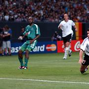Germany's Michael Ballack heads home their third goal