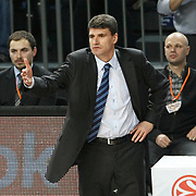 Efes Pilsen's coach Velimir PERASOVIC during their Turkish Airlines Euroleague Basketball Top 16 Group G Game 4 match Efes Pilsen between Real Madrid at Sinan Erdem Arena in Istanbul, Turkey, Thursday, February 17, 2011. Photo by TURKPIX