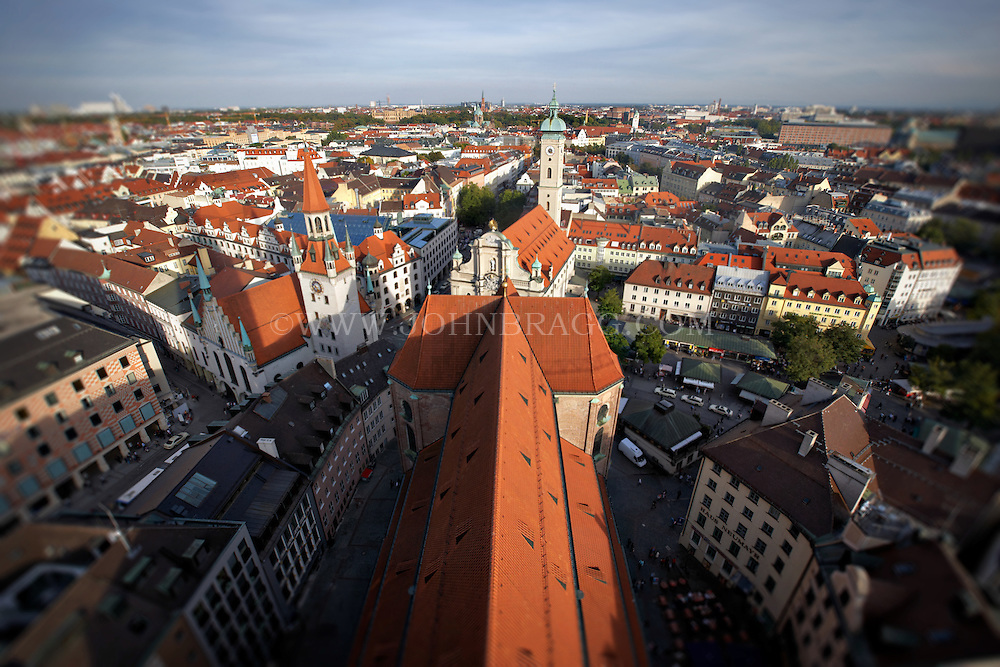 The top of St. Peter's Church, view of the old town hall, Munich, Germany.