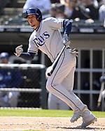 CHICAGO - APRIL 09:  Willy Adames #1 of the Tampa Bay Rays bats against the Chicago White Sox on April 9, 2019 at Guaranteed Rate Field in Chicago, Illinois.  (Photo by Ron Vesely)  Subject:   Willy Adames