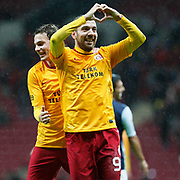 Galatasaray's Sercan Yildirim (R) celebrate his goal with team mate during their Turkey Cup matchday 3 soccer match Galatasaray between AdanaDemirspor at the Turk Telekom Arena at Aslantepe in Istanbul Turkey on Tuesday 10 January 2012. Photo by TURKPIX