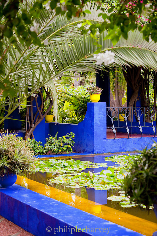 Painted walls at the Jardin Majorelle, exotic gardens in Marrakech, Morocco