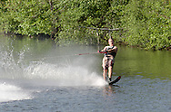Monroe, NY - A man wakeboards at Twin Lakes Water Ski area on June 1, 2008.