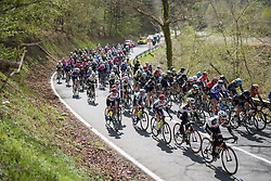 Peloton happy to let the break go for now at the Liege-Bastogne-Liege Femmes - a 135.5 km road race between Bastogne and Ans on April 23 2017 in Liège, Belgium.