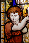 Stained glass window detail, Shimpling church, Suffolk, England, UK c 1890 by Powell, Faith Hope and Charity