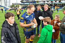 Chris Pennell of Worcester Warriors signing a ball for a fan after the game - Mandatory by-line: Craig Thomas/JMP - 13/04/2019 - RUGBY - Sixways Stadium - Worcester, England - Worcester Warriors v Sale Sharks - Gallagher Premiership Rugby
