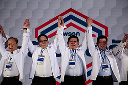 September 29, 2018 - Nonthaburi, Thailand - 4 Thai ministers raise hands together during the party general assembly to launch Phalang Pracharat Party in Bangkok, Thailand, 29 September 2018. The general assembly is selecting a party leader and its executives. (Credit Image: © Sek Roj/Pacific Press via ZUMA Wire)