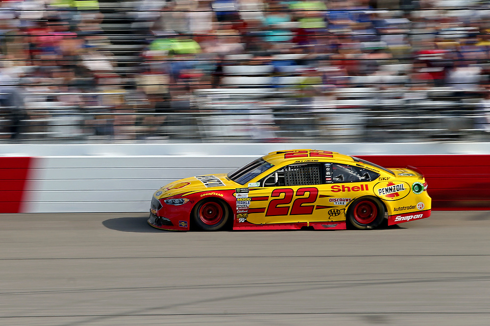 Apr 30, 2017; Richmond, VA, USA; NASCAR Cup Series driver Joey Logano (22) during the Toyota Owners 400 at Richmond International Raceway. Mandatory Credit: Peter Casey-USA TODAY Sports