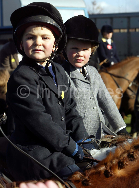 Valentine Hutley (left 5) and Moses Fiddian-Green (5) prepare to leave on the Surrey Union hunt. The Surrey Union has been hunting in Surrey since the 18th century and hunts on into the 21st century, albeit within the restrictions of Hunting Act. The Hunt meets on Tuesdays and alternate Fridays and Saturdays during the main part of the season (but generally Tuesdays, Thursdays and Saturdays after the end of shooting)and is pleased to welcome visitors and supporters, mounted or on foot. It is generally accepted that the Surrey Union dates back to 1798, and was probably so named following the amalgamation of two private packs belonging to the Leech family of Lea Park, Godalming, and the Rev. Samuel Godschall of Albury. The hunt button to this day bears the letters UH and it is likely the combined pack was known simply as the Union Hunt in its earliest days.