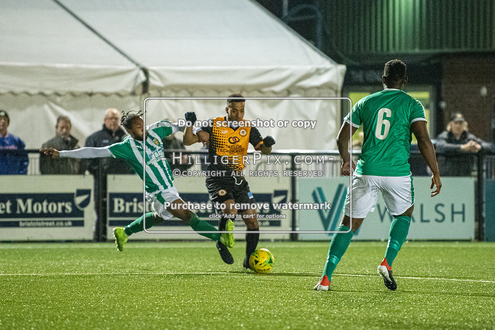 BROMLEY, UK - OCTOBER 30: Jerome Federico, of Cray Wanderers FC, gets tackled during the Kent Senior Cup match between Cray Wanderers and VCD Athletic at Hayes Lane on October 30, 2019 in Bromley, UK. <br /> (Photo: Jon Hilliger)