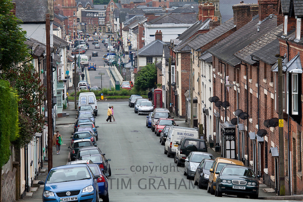 Typical Welsh street of terraced houses in Crescent Street, Newtown in Powys, Wales