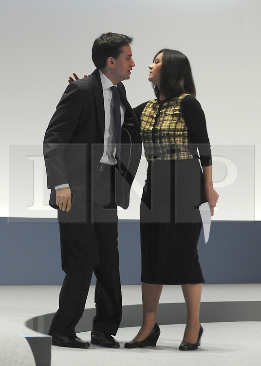 © Licensed to London News Pictures. 29/09/2011. LONDON, UK. Ed Miliband, Leader of the Labour Party congratulates Caroline Flint MP, Shadow Secretary of State for Communities and Local Government  after she addresses The Labour Party Conference in Liverpool today (2829/09/11). Photo credit:  Stephen Simpson/LNP