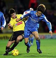 Fotball<br /> Championship England 2004/05<br /> Watford v Cardiff<br /> 28. desember 2004<br /> Foto: Digitalsport<br /> NORWAY ONLY<br /> JOHNNIE JACKSONHOLDS OF JUNICHI INAMOTO