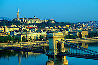 The Chain Bridge over the River Danube (Matthias Church and Fisherman's Bastion in background), Budapest, Hungary