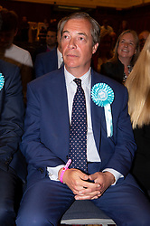 © Licensed to London News Pictures. 27/05/2019. London, UK. British Brexit party leader Nigel Farage  celebrates being re-elected as a European Parliament. Earlier today. The Brexit Party is expected to do very well in the elections. Photo credit: Ray Tang/LNP