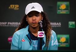 March 9, 2019 - Indian Wells, USA - Naomi Osaka of Japan talks to the media after her second-round match at the 2019 BNP Paribas Open WTA Premier Mandatory tennis tournament (Credit Image: © AFP7 via ZUMA Wire)