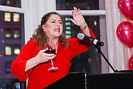 Kathleen Turner addresses the crowd at Gael Green's 80th birthday party at Stella 34.