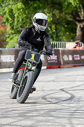 Imogen Lehtonen before her crash (she walked away!) in the Super 73 electric bike races during the Revival and Roland Sands sponsored races set up in the parking lot of the Austin American Statesman outside the Handbuilt Show. Austin, Texas USA. Saturday, April 13, 2019. Photography ©2019 Michael Lichter.