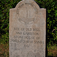 Historial plaque marking the site of the old stone milll and house of Capt. James Sands and Sarah Walker Sands, Block Island, Rhode Island