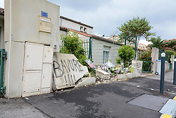 July 5, 2018 - Nantes, France - Degradation Quartier du Breil a Nantes (Loire-Atlantique) suite mort jeune homme tue par balles mardi 3 juillet..Mur lieu accident (Credit Image: © Panoramic via ZUMA Press)