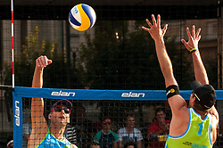 Danijel Pokersnik vs Jan Pokersnik at Beach Volleyball Challenge Ljubljana 2014, on August 2, 2014 in Kongresni trg, Ljubljana, Slovenia. Photo by Matic Klansek Velej / Sportida.com