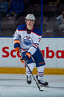 PENTICTON, CANADA - SEPTEMBER 9: Dmitri Samorukov #78 of Edmonton Oilers skates with the puck against the Winnipeg Jets on September 9, 2017 at the South Okanagan Event Centre in Penticton, British Columbia, Canada.  (Photo by Marissa Baecker/Shoot the Breeze)  *** Local Caption ***