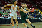 March 18, 2016; Tempe, Ariz;  Green Bay Phoenix guard Kaili Lukan (4) drives past Tennessee Lady Volunteers guard/forward Jaime Nared (31) during a game between No. 7 Tennessee Lady Volunteers and No. 10 Green Bay Phoenix in the first round of the 2016 NCAA Division I Women's Basketball Championship in Tempe, Ariz.