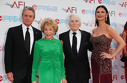 Kirk Douglas Dies At 103 - (L-R) Michael Douglas, Anne Douglas, Kirk Douglas and Catherine Zeta Jones arriving at the 37th AFI Life Achievement Award: A Tribute to Michael Douglas held at the Sony Studios in Culver City in Los Angeles, CA, USA on June 11, 2009. Photo by APEGA/ABACAPRESS.COM