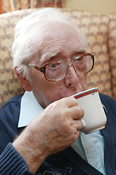 Portrait of man drinking a cup of tea,